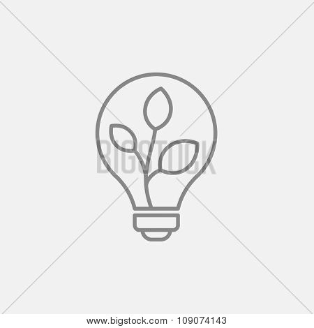 Lightbulb and plant inside line icon for web, mobile and infographics. Vector dark grey icon isolated on light grey background.
