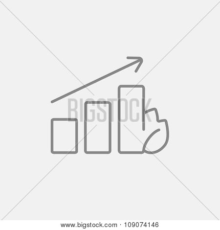 Bar graph with leaf line icon for web, mobile and infographics. Vector dark grey icon isolated on light grey background.