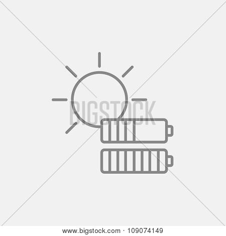 Sun with two batteries line icon for web, mobile and infographics. Vector dark grey icon isolated on light grey background.