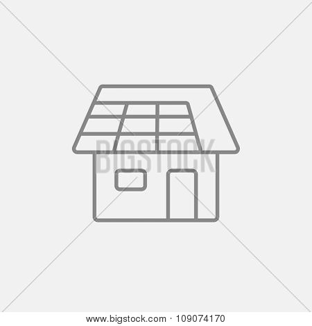 House with solar panel line icon for web, mobile and infographics. Vector dark grey icon isolated on light grey background.