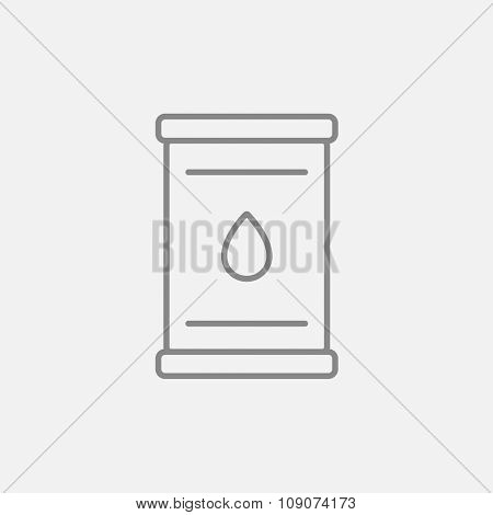 Oil barrel line icon for web, mobile and infographics. Vector dark grey icon isolated on light grey background.