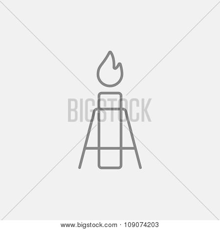 Gas flare line icon for web, mobile and infographics. Vector dark grey icon isolated on light grey background.