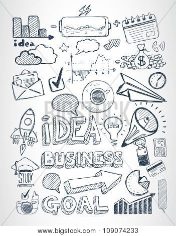 Business doodles Sketch set : infographics elements isolated, vector shapes. It include lots of icons included graphs, stats, devices,laptops, clouds, concepts and so on.
