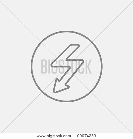 Lightning arrow going down inside circle line icon for web, mobile and infographics. Vector dark grey icon isolated on light grey background.