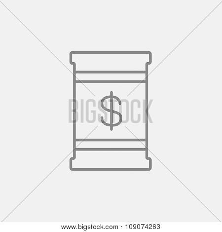 Barrel with dollar symbol line icon for web, mobile and infographics. Vector dark grey icon isolated on light grey background.