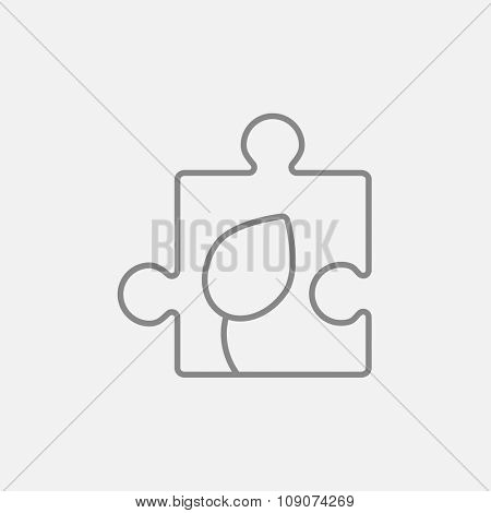 Puzzle with leaf line icon for web, mobile and infographics. Vector dark grey icon isolated on light grey background.