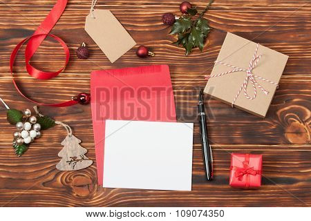 Blank Card. Template With Copy Space. Empty Paper Sheet Mock Up.
