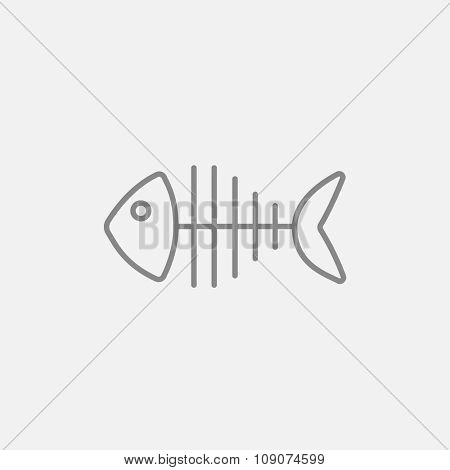 Fish skeleton line icon for web, mobile and infographics. Vector dark grey icon isolated on light grey background.