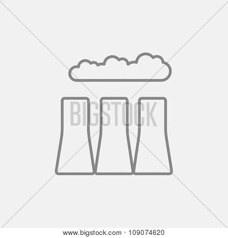 Factory pipes line icon for web, mobile and infographics. Vector dark grey icon isolated on light grey background.