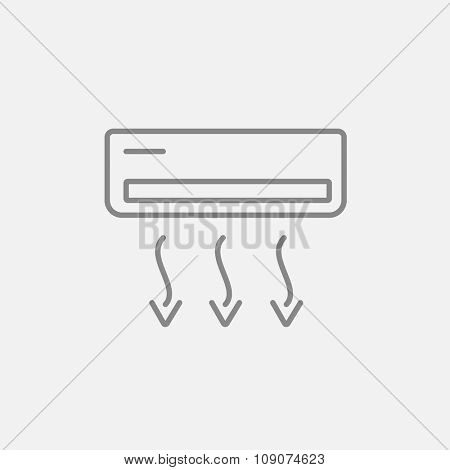 Air conditioner line icon for web, mobile and infographics. Vector dark grey icon isolated on light grey background.