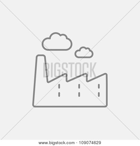 Factory line icon for web, mobile and infographics. Vector dark grey icon isolated on light grey background.