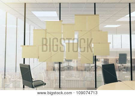 Blank Paper Posters On Vtireous Wall In Modern Office With Furniture, Mock Up