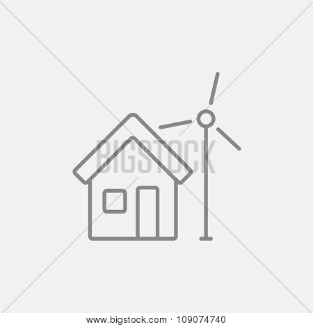 House with windmill line icon for web, mobile and infographics. Vector dark grey icon isolated on light grey background.