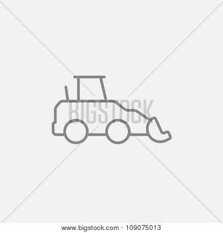 Excavator line icon for web, mobile and infographics. Vector dark grey icon isolated on light grey background.