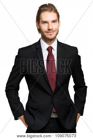 Handsome nordic businessman portrait isolated on white