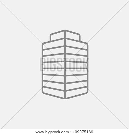 Office building line icon for web, mobile and infographics. Vector dark grey icon isolated on light grey background.