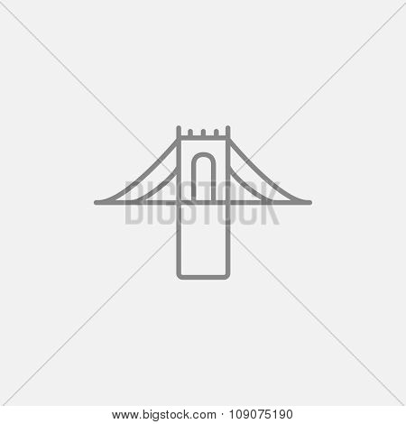 Bridge line icon for web, mobile and infographics. Vector dark grey icon isolated on light grey background.