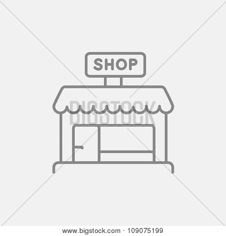 Shop store line icon for web, mobile and infographics. Vector dark grey icon isolated on light grey background.