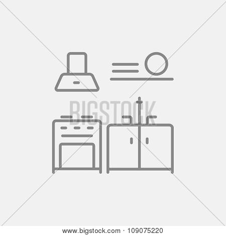 Kitchen interior line icon for web, mobile and infographics. Vector dark grey icon isolated on light grey background.