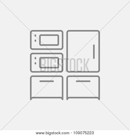 Household appliances line icon for web, mobile and infographics. Vector dark grey icon isolated on light grey background.