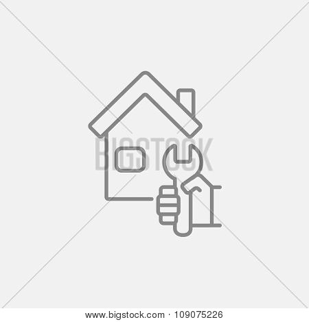House with wrench line icon for web, mobile and infographics. Vector dark grey icon isolated on light grey background.