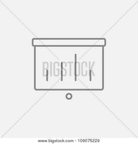 Projector roller screen line icon for web, mobile and infographics. Vector dark grey icon isolated on light grey background.