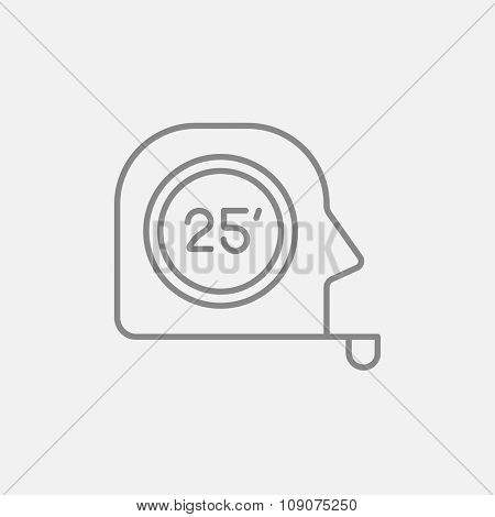 Tape measure line icon for web, mobile and infographics. Vector dark grey icon isolated on light grey background.