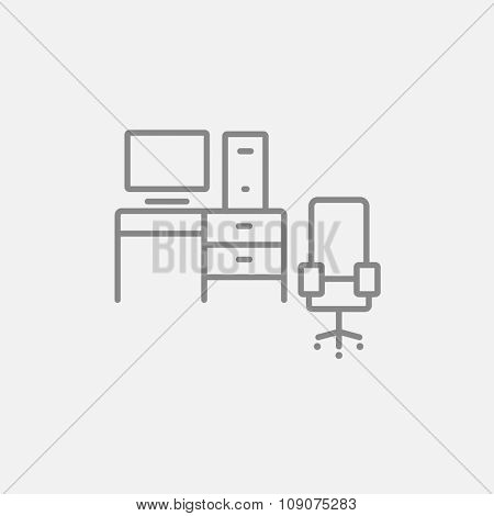 Computer set with table and chair line icon for web, mobile and infographics. Vector dark grey icon isolated on light grey background.