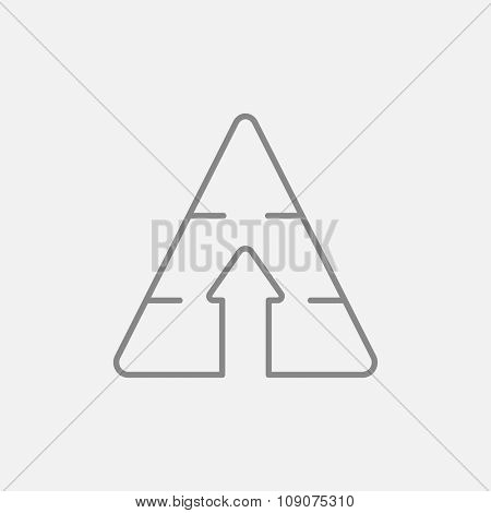 Pyramid with arrow up line icon for web, mobile and infographics. Vector dark grey icon isolated on light grey background.