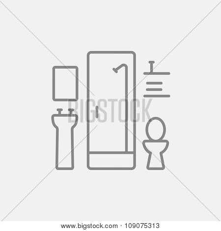 Bathroom line icon for web, mobile and infographics. Vector dark grey icon isolated on light grey background.