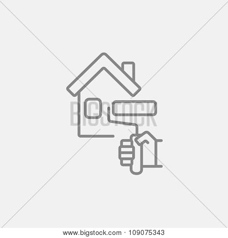 House with roller for painting line icon for web, mobile and infographics. Vector dark grey icon isolated on light grey background.