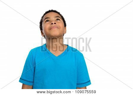 Thoughtful African American Boy Looking Up High