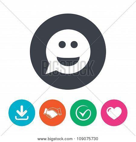 Smile face sign icon. Smiley symbol.
