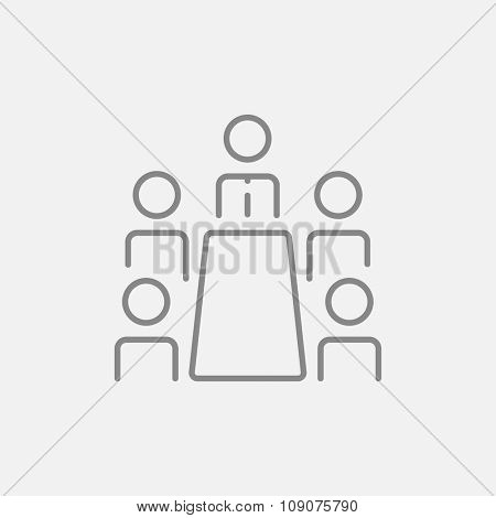 Business meeting in the office line icon for web, mobile and infographics. Vector dark grey icon isolated on light grey background.