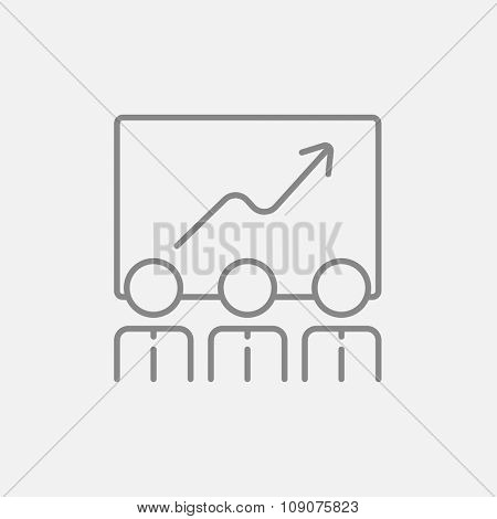 Businessmen looking at growing graph drawing on a board line icon for web, mobile and infographics. Vector dark grey icon isolated on light grey background.