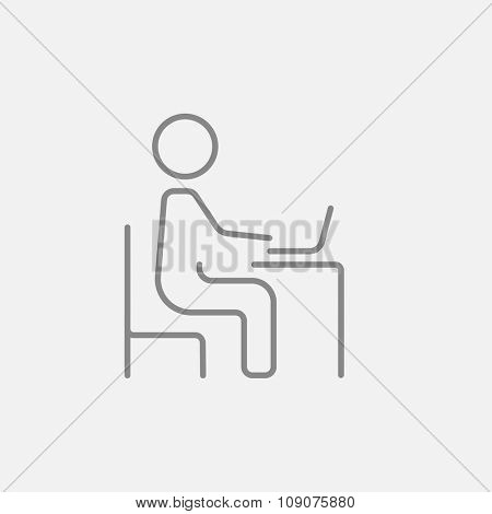 Businessman working at his laptop line icon for web, mobile and infographics. Vector dark grey icon isolated on light grey background.