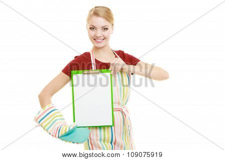 Housewife Holding Clipboard With Copy Space For Text.