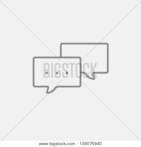 Speech bubble with dots inside line icon for web, mobile and infographics. Vector dark grey icon isolated on light grey background.