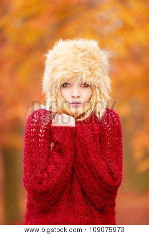 Pretty Fashion Woman In Winter Hat Feeling Cold.