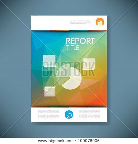 Report cover template with pie chart symbol and 3d low poly vector background. Business brochure or