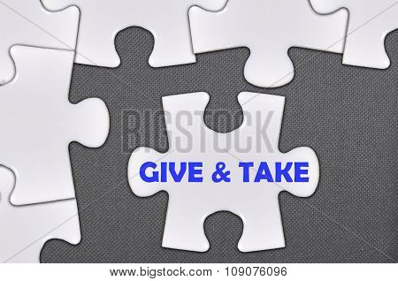The White Jigsaw Puzzle Written Word Give And Take