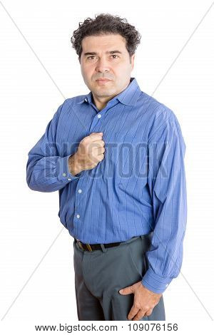 Businessman With Fist On His Chest Against White
