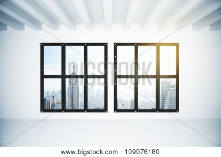 White Empty Loft Room With Megapolis City View