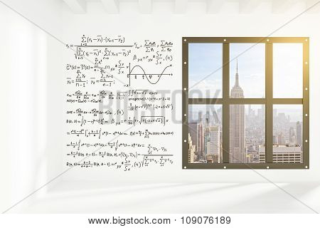 White Wall With Equations In Empty Loft Room With Megapolis City View