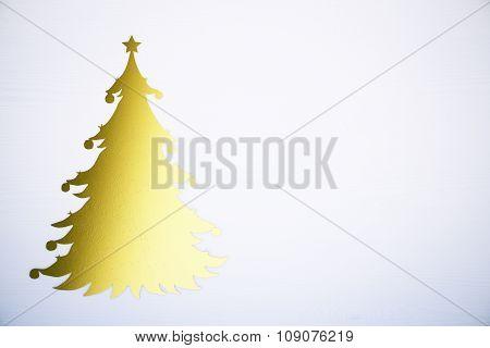 Yellow Christmass Tree At White Background