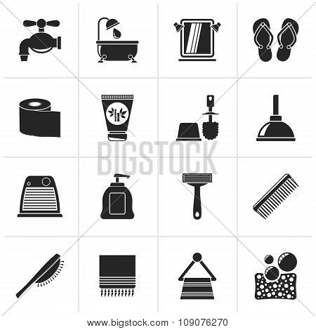 Black Bathroom and Personal Care icons