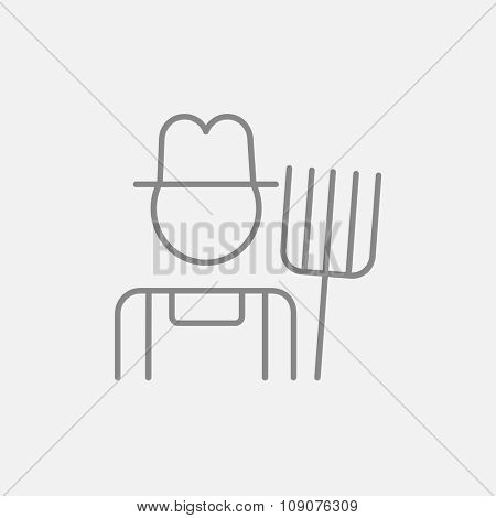 Farmer with pitchfork line icon for web, mobile and infographics. Vector dark grey icon isolated on light grey background.