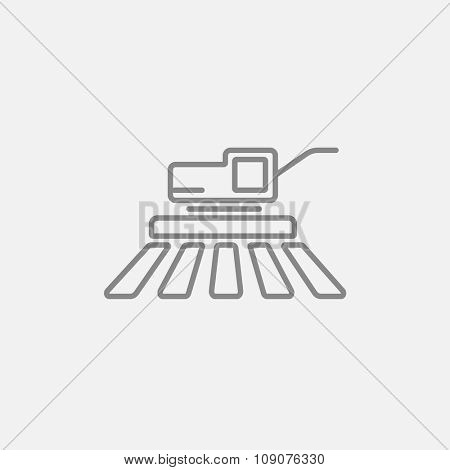 Combine harvester line icon for web, mobile and infographics. Vector dark grey icon isolated on light grey background.