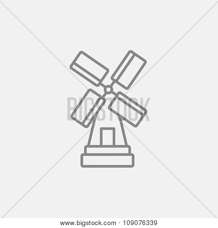 Windmill line icon for web, mobile and infographics. Vector dark grey icon isolated on light grey background.