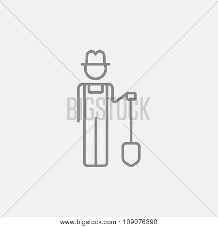 Farmer with shovel line icon for web, mobile and infographics. Vector dark grey icon isolated on light grey background.